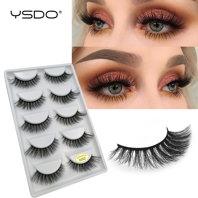 5 Pairs Mink EyeLashes 3D Dramatic Natural Hair False EyeLash Faux Mink Volume EyeLashes 3D Mink Cilios Fluffy Lashes Cheap G806