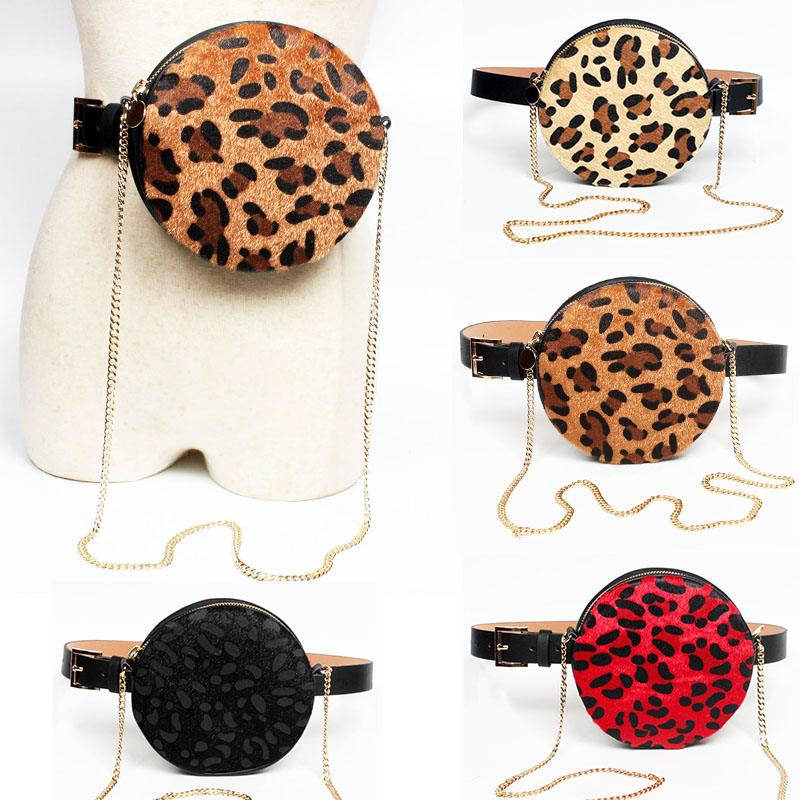 Belt Bag Women Round Leopard Waist Bags Leather Female Chain Women's Shoulder Bags Winter Fashion Fanny Pack Black Waist Packs
