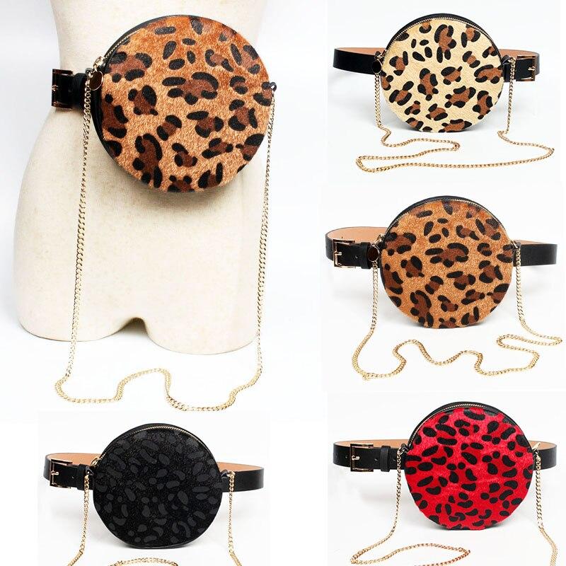 Round Waist Bag Women Belt Bag Leather Leopard Chain Shoulder Bags Luxury Fanny Pack Waist Pack Purse Chest Bag Sac Banana Femme