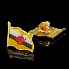 Brunei Country Flag Lapel Pin Badge Iron Plated Paints Epoxy Butterfly Back Button Pin Brooch 5pcs usa new jersey state flag lapel pin epoxy medal w butterfly button back