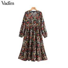 Vadim women vintage floral pattern print midi dress V neck long sleeve female fashion casual straight dresses vestidos QD106