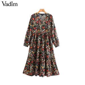 Image 1 - Vadim women vintage floral pattern print midi dress V neck long sleeve female fashion casual straight dresses vestidos QD106