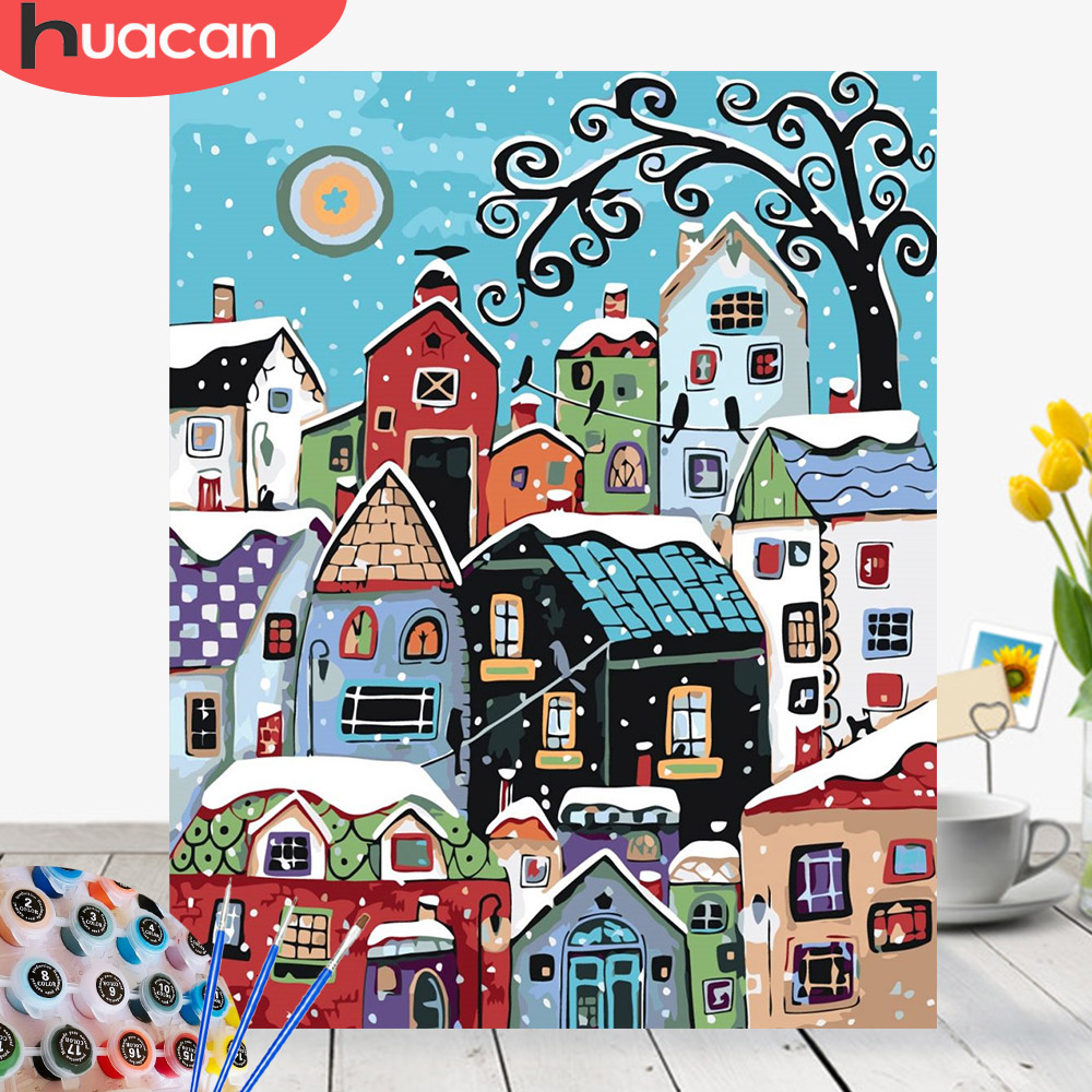 HUACAN Picture By Numbers Snow Landscape Acrylic Drawing Canvas Wall Art Oil Painting House DIY Home Decor Gift