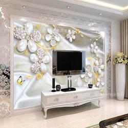 Европейский стиль особняк вилла украшения обои 5D алмазные украшения цветок Золотые листья ТВ фоновые обои с фреской