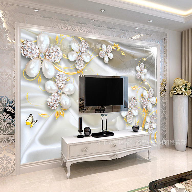 European Style Mansion Villa Decoration Wallpaper 5D Diamond Jewelry Flower Gold Leaf TV Backdrop Wallpaper Mural