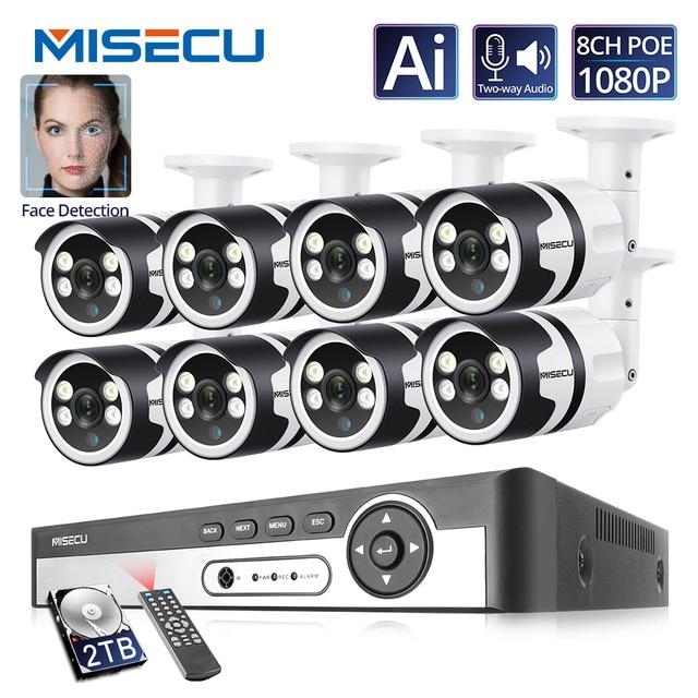 Камера видеонаблюдения Misecu, 4 канала, 8 каналов, AI, функция распознавания лиц, POE, NVR, 1080P, двусторонняя аудиосвязь, для наружного использования