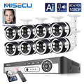 Misecu 4CH 8CH AI Human Detection Face Record POE NVR 1080P Security IP Camera Two Way Audio Outdoor Video Surveilllance Set