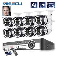 Misecu 4CH 8CH AI insan algılama yüz kayıt POE NVR 1080P güvenlik IP kamera iki yönlü ses açık Video surveilllance seti