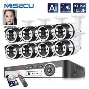 Image 1 - Misecu 4CH 8CH AI insan algılama yüz kayıt POE NVR 1080P güvenlik IP kamera iki yönlü ses açık Video surveilllance seti