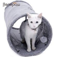 Benepaw品質折りたたみ猫トンネルクリンクルと耐久性のあるスエード子猫おもちゃ屋内ハイダウェイボール覗く穴簡単にキャリー