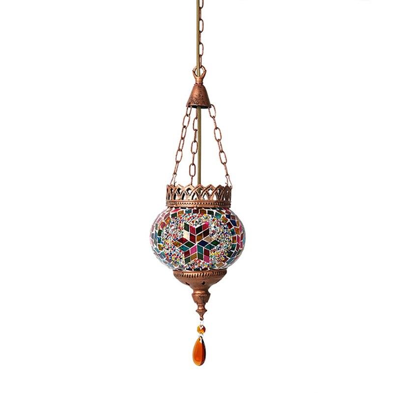 Artpad Mediterranean Style Turkish Moroccan Pendant Light Decoration Handmade Glass Shade Restaurant E27 Mosaic Hanging Lamp