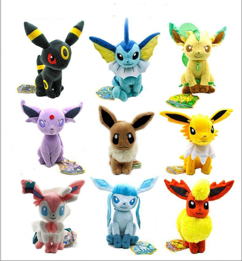 9pcs/lot Umbreon Glaceon Leafeon Flareon Jolteon Espeon Eevee Plush Toy Doll Soft Stuffed Toys For Children Kids Christmas Gifts