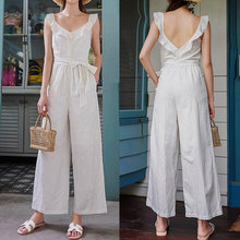 Celmia 2020 yazlık tulum kadınlar Casual çizgili tulumlar kolsuz Backless Playsuits Sashes Ruffled geniş bacak pantolon Pantalon(China)