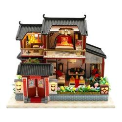 Gift LED Verlichting Prachtige Speelgoed Kinderen Huis Model Kit Miniatuur Intellectuele Bouwen 3D Chinese Stijl DIY Monteren Heldere Kleur