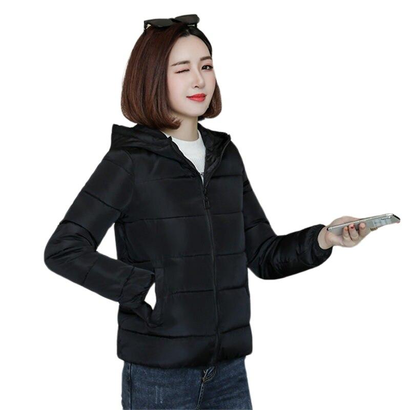 Fashion Korean Winter Hooded Outwear Women Black Solid Loose Cotton Zipper   Parka   Jacket Ladies Padded Thick Warm outerwear Coat