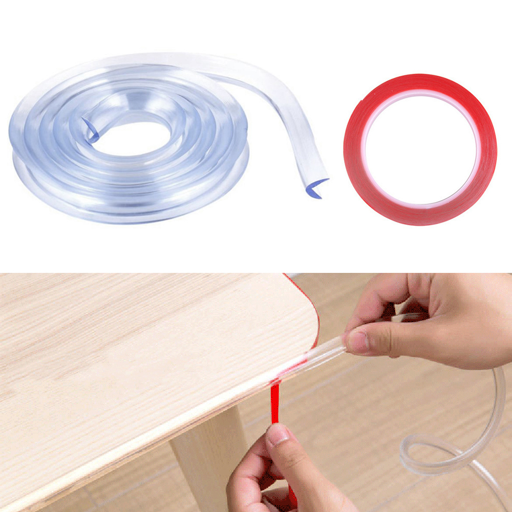 Desk Edge Guard Strip Table Corner Protector Transparent Kids Child Collision Cushion Foam Bumper With Tape For Baby Safety