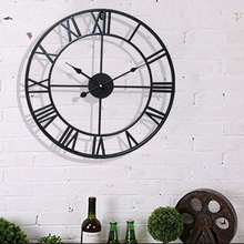 40CM Nordic Metal Roman Numeral Wall Clocks Retro Iron Round Face Black Gold Large Outdoor Garden Clock Home Decoration