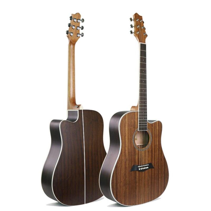 Guitare folk 41 pouces guitare folk tout noyer guitare acoustique à cordes d'acier