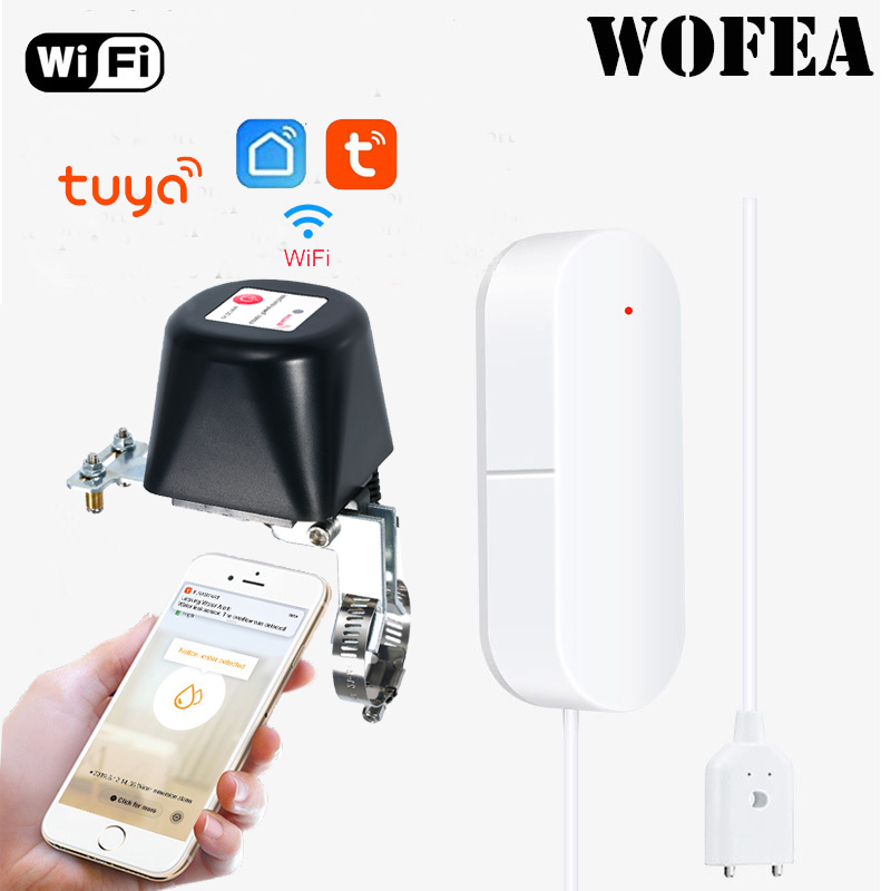 Wofea WIFI Water Sensor With Auto Shut Valve Smart Siren Automation Compatible With Alexa