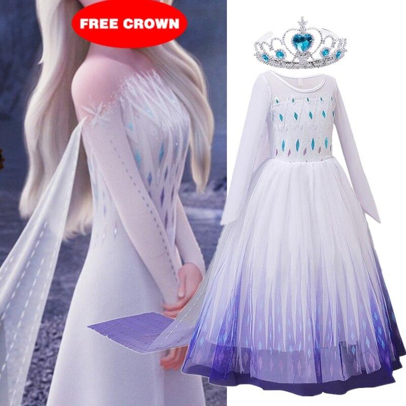 Snow Girls Dress Princess Costume Halloween Carnival Children Dress up Kids Dresses for Girls Clothing Size 4-10 Years
