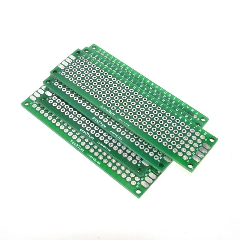 WAVGAT Dropshipping 4PCS 5x7 4x6 3x7 2x8cm Double Side Copper Prototype Pcb Universal Board Fiberglass Board For Arduino