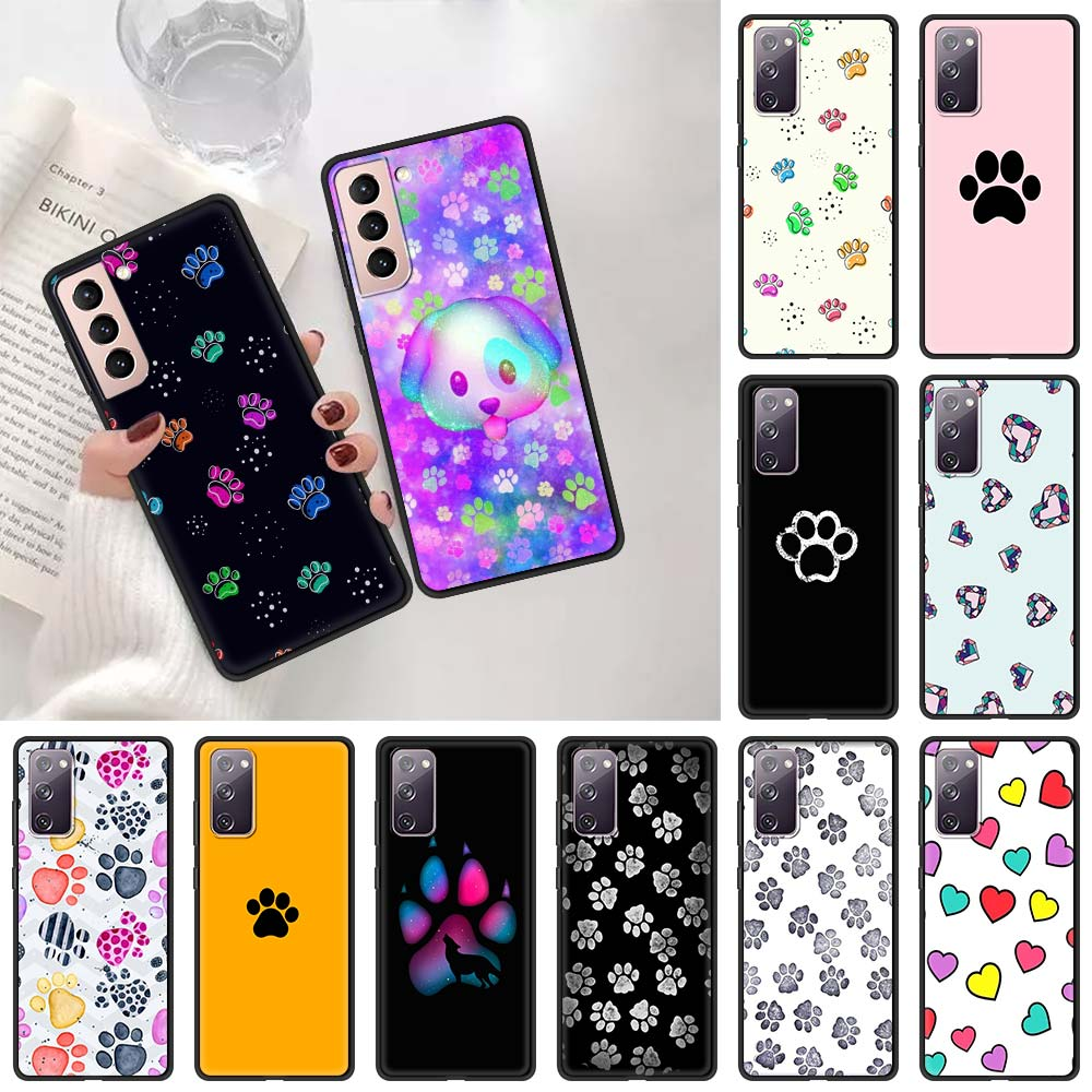 Cute Cat Dog Claw Paw Phone Case For Samsung Galaxy S20 FE S10 Plus S21 Ultra 5G S10e S8 S9 Plus S7 Edge Soft Black Cover