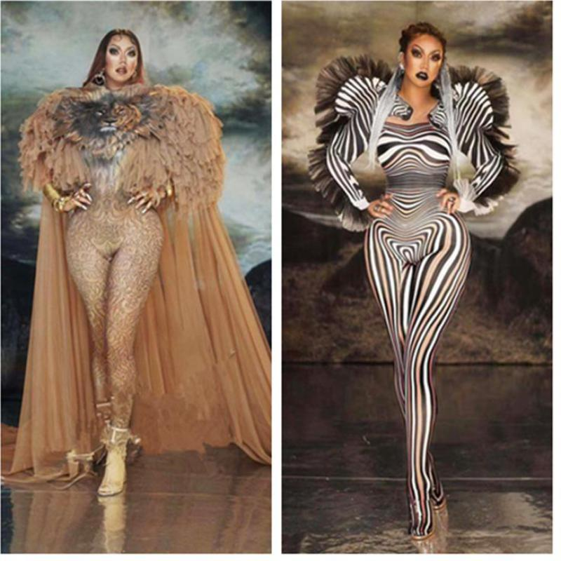 Luxurious Stage Outfit Bar DS Dance Cosplay Bodysuit Costume Prom Model Show Clothes Tiger Pattern Sexy Jumpsuit Women Singer