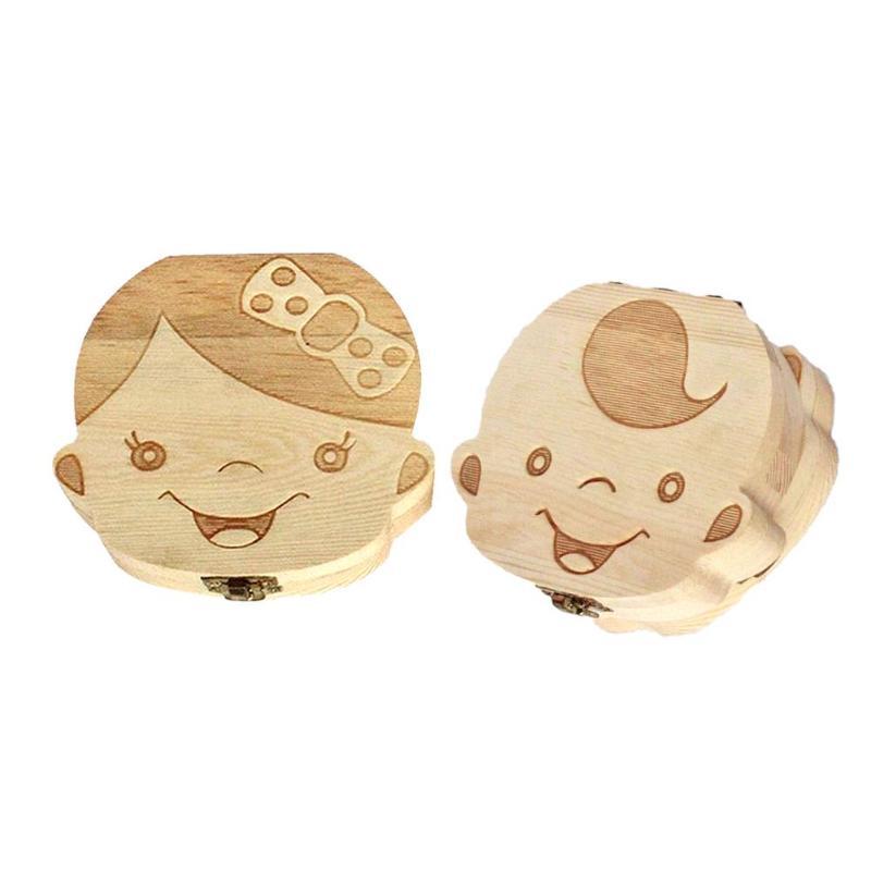 Wooden Baby Teeth Box Save Organizer Children Kids Milk Teeth Storage Keepsake Boxes Baby Souvenirs Gifts