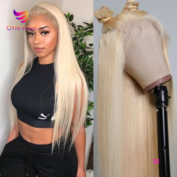 OYM HAIR 13x4 613 Honey Blonde Color Remy Brazilian Straight Lace Front Human Hair Wigs For Black Women 150%Pre-Plucked Lace Wig