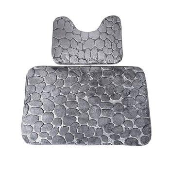 Gran oferta 2 uds alfombra de baño suave juego de pedestales de baño esteras colores adoquines antideslizantes