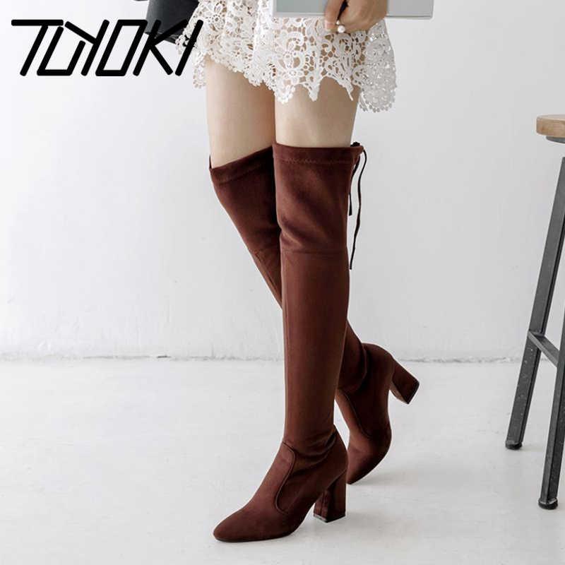 Tuyoki femmes cuissardes mode Stretch mince talons hauts à lacets femme sur le genou bottes livraison directe taille 33-46