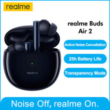Realme botões ar 2 anc sem fio bluetooth fone de ouvido 25hrs reprodução total 88ms super baixa latência 10mm hi-fi baixo impulso estoque real