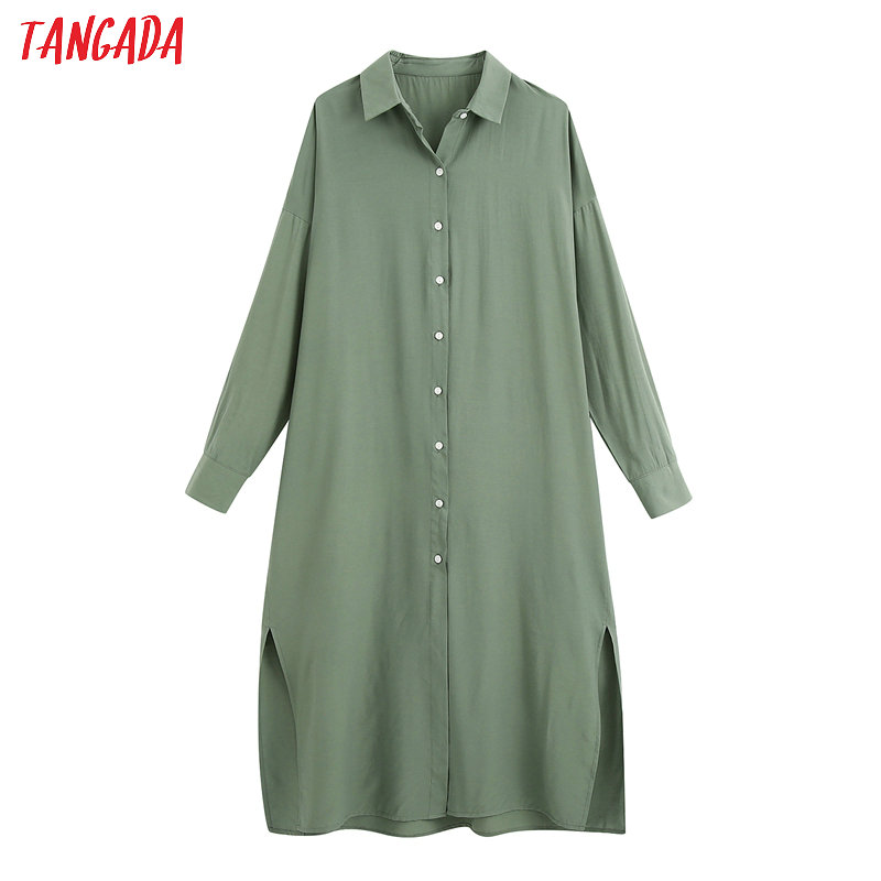 Tangada Fashion Women Solid Green Shirt Dress Long Sleeve Loose Ladies Casual Midi Dress Vestidos BE513