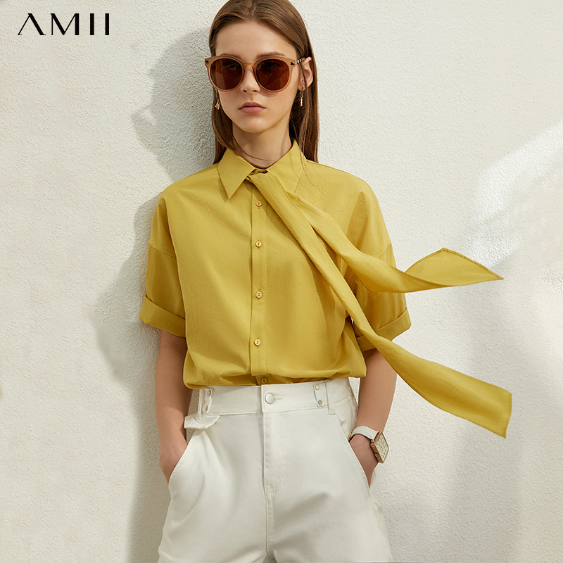 AMII Minimalism Spring Summer Bow Neck Loose Women Shirt Caual Solid Belt Female Blouse Tops 12070239