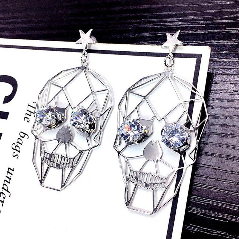 Skull Earrings Hiphop Halloween Korean Retro Personality Women Wild Metal for Punk Metal-Temperament