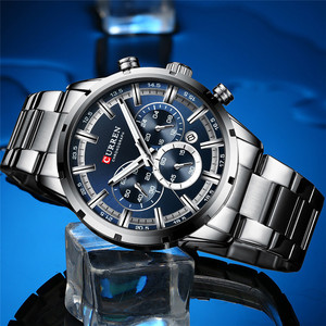 Image 3 - CURREN Мужские спортивные наручные часы, водонепроницаемые, хронограф, мужские часы, военные, лучший бренд, люкс, синий, нержавеющая сталь, мужские часы 8355
