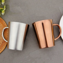 340 Ml Stainless Steel Copper Plated Coffee Cup Double Layers 304 High Temperature Resistance Milk Tea Mug