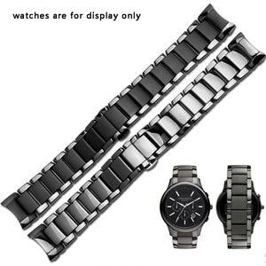 Image 2 - 22mm 24mm ceramiczna watchband czarna opaska na nadgarstek błyszcząca i matująca bransoletka dla AR1451 1452 męska zegarek akcesoria