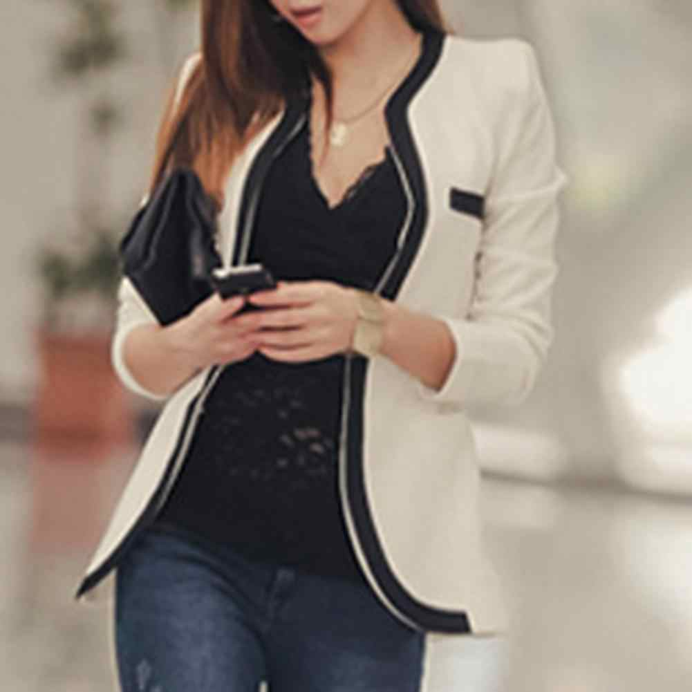 Women Jacket 1pc Casual Outerwear Leather Long Sleeve Female Plus Size Spandex