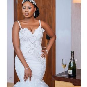 Image 2 - צנוע אפריקאי בתוספת גודל חתונה שמלות 2020 robe דה mariee בת ים חתונת שמלות חרוזים תחרה בעבודת יד כלה שמלה