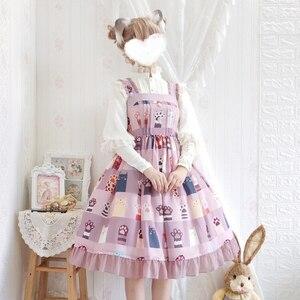 Японское летнее платье лолиты, кружевное платье с бантом и высокой талией, каваи, милое платье с принтом в викторианском стиле, готическое п...