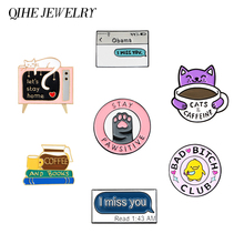 QIHE JEWELRY Cute Cartoon Enamel Lapel Pins Coffee Cat Brooches Badges Fashion Backpacks Animal Pins Gifts for Friends Wholesale starpugs coffee enamel lapel pins cartoon cat dog brooches badges fashion backpack pin gifts for friends wholesale jewelry