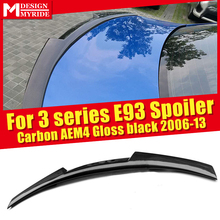 E93 Spoiler High Kick AEM4 Style Carbon Fiber Trunk Wing Spoiler Gloss Black For BMW 3 Series 320i 325i 328i 330i 335i 2006-2013 single grid gloss black front bumper grill replacement for bmw 3 series f34 gt gran turismo 320i 328i 335i 2013 2014 2015 2016