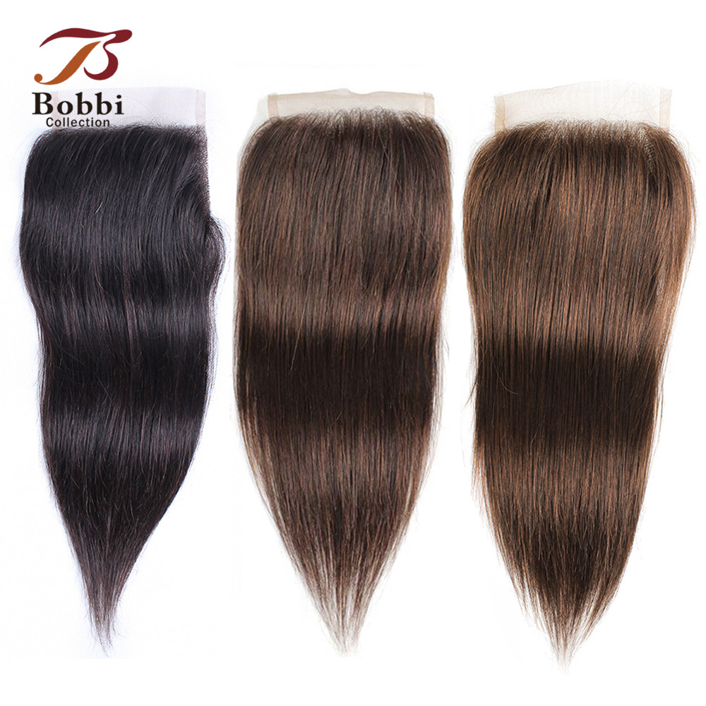 Bobbi Collection Natural Color Straight 4x4 Lace Closure Indian Non Remy Human Hair Ombre Honey Blonde Brown #2 #4 #8 Ash Blonde