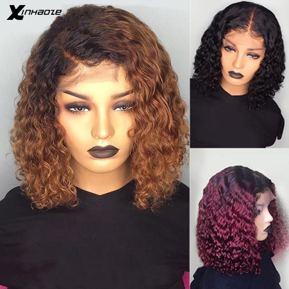 1b/99j borgonha ombre vermelho curto perucas de cabelo humano pré arrancadas encaracolado loira frente do laço peruca bob 150 densidade 13x4 remy brasileiro peruca