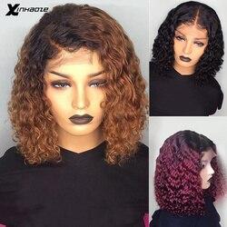 1B/99J бордовый эффектом деграде (переход от темного к короткие парики из человеческих волос человеческие волнистые светлые накладные Синтет...