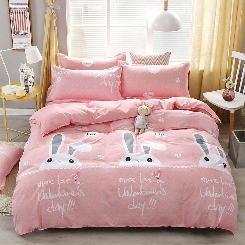 4pcs Kawaii Strawberry Pink Queen Size Bedding Set  3