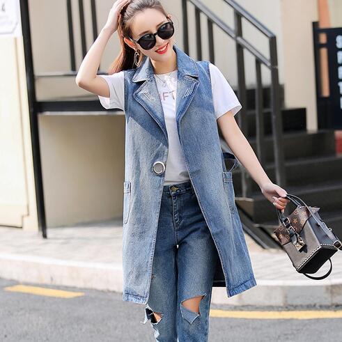 Women/'s Cowboy Vest  Long Coat Jeans Denim Waistcoat Girl Sleeveless Jacket