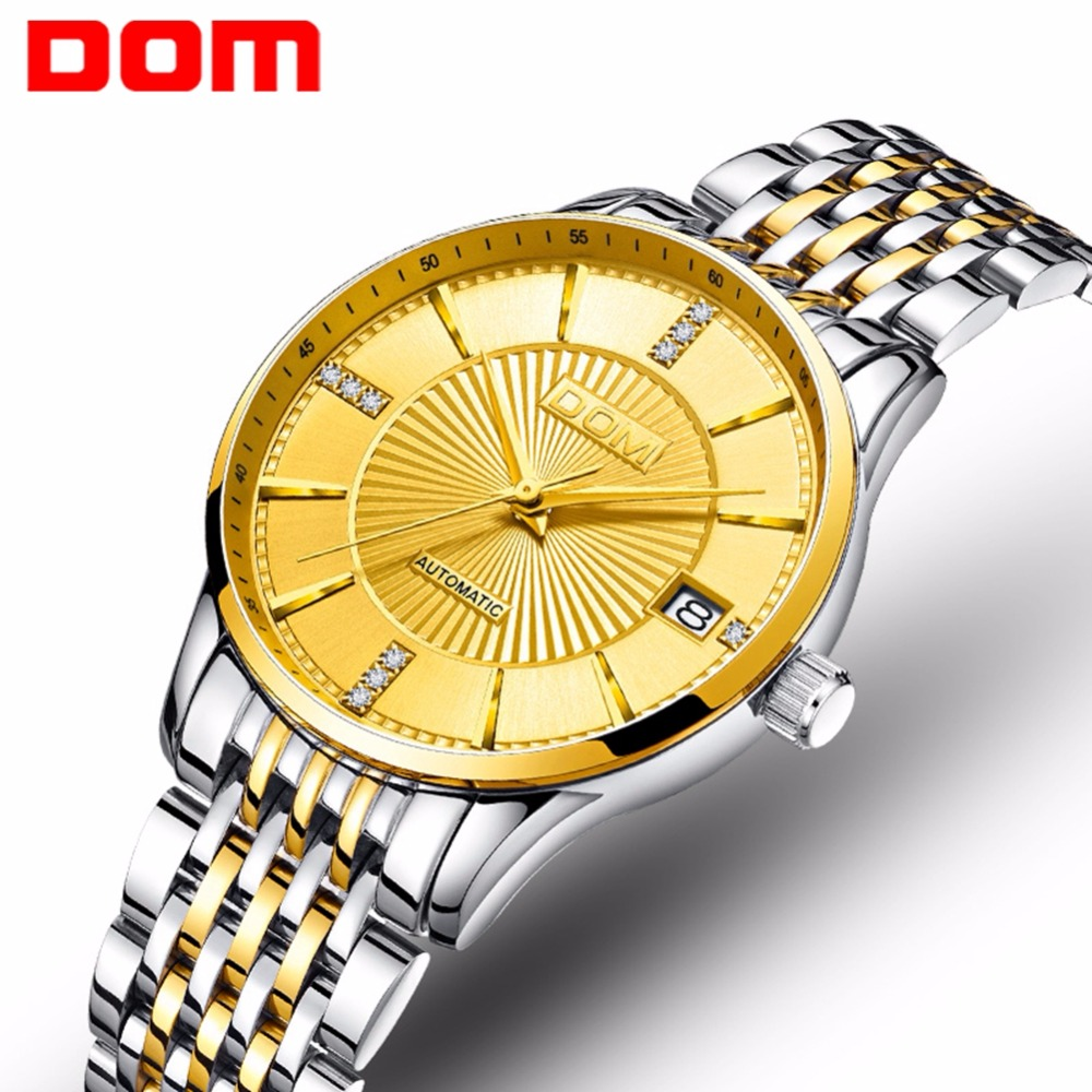 mew DOM Women Mechanical Watches Fashion Stainless Steel Gold Watch Brand Luxury Waterproof Female Business Automatic Clock