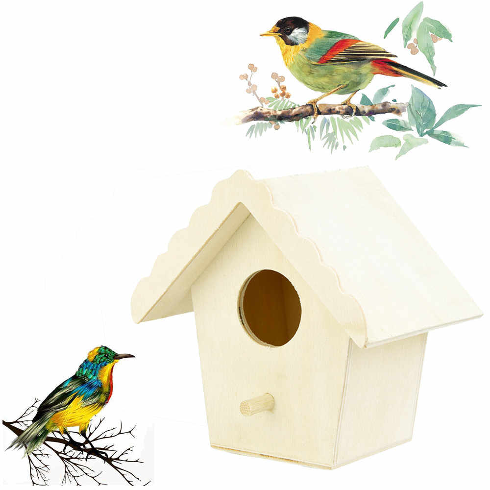Nest House BIRD Garden Decor BIRD BIRD Bird Nest Creative Wall-MOUNTED กลางแจ้ง Birdhouse ไม้กล่อง Dropshipping